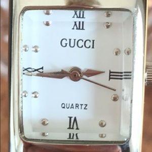 Vintage Quartz Watch with Green Cuff Bracelet